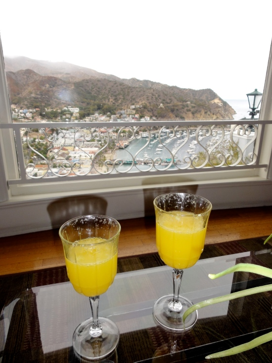 Enjoying our morning mimosas with a beautiful view of Avalon